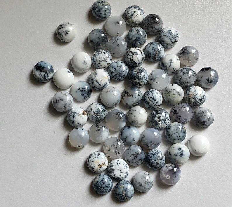 5 Pcs Dendrite Opal Round Cabochon ADG165 9mm Natural Dendrite Opal Plain Round Flat Back Cabochons Loose Dendrite Gemstones