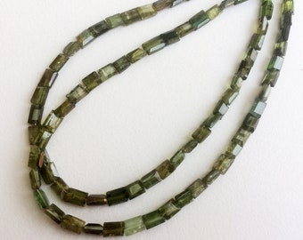 13 Inch Green Tourmaline Chewing Gum Cut Beads, 3-5mm Natural Green Tourmaline Rectangle Cut Beads, Tourmaline Necklace - ADG133