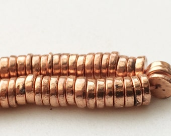 Copper Pyrite Tyre Beads, Metallic Copper Pyrite Plain Spacer Beads, Pyrite Necklace, 6mm, 14 Inch - AGP192