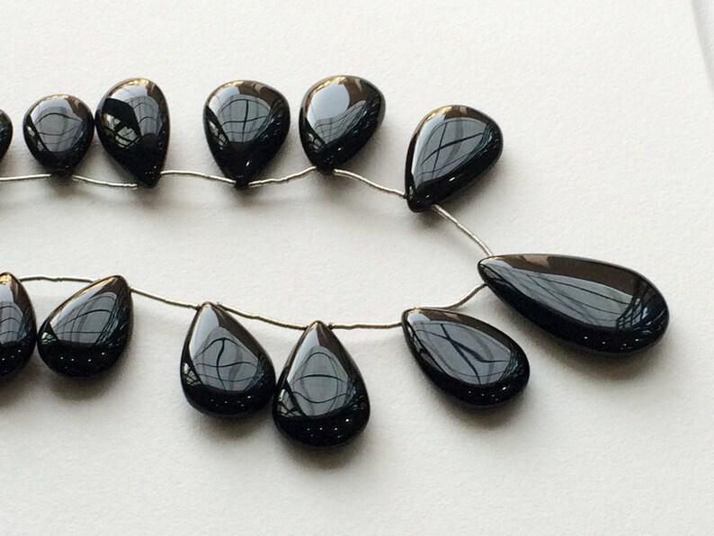 Black Onyx Gemstone Black Onyx Smooth Drop Briolettes 8 Inch Full Strand 13 Pieces AAAgems 34x20mm To 19x13mm Black Onyx Beads