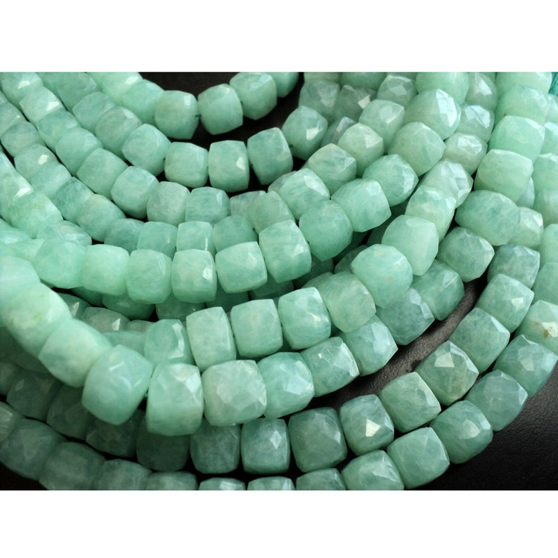 8-9mm Beads Gemstone Beads Amazonite Box Bead 12 Pieces Approx Faceted Box Beads 4.5 Inch Half Strand