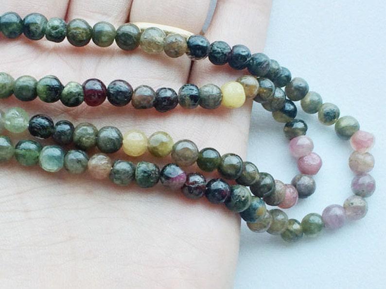 Multi Tourmaline Plain Round Beads Tourmaline Necklace 5 Strands WHOLESALE Multi Tourmaline Beads 13 Inch Strand 5mm