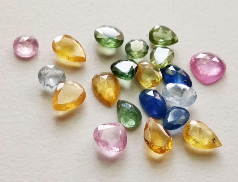 5 Pcs Multi Sapphire Faceted Flat Back Cabochons Natural Mix Shape Multi Sapphire Cabochons PSG99 4-7mm Loose Sapphire Cabochons