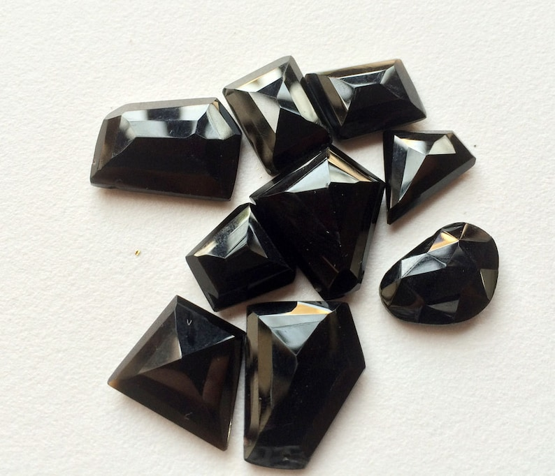 RoseCut Gemstones Black Onyx Cabochon 17x20mm To 13x13mm Flat Cabochons Fancy Cut Cabochons Black Onyx Ring 10 Pieces