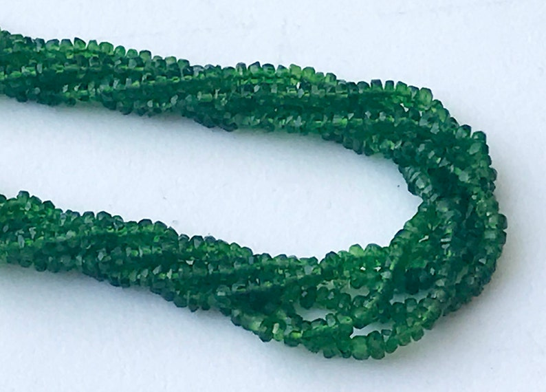 Chrome Diopside Beads 2.5-3mm GSA34 Natural Green Diopside Faceted Rondelle 6.5 Inch Tiny Beads Chrome Diposide Necklace