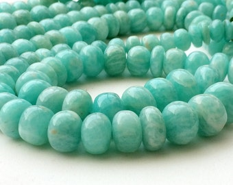 Amazonite Beads, Amazonite Plain Rondelle Beads, Amazonite Necklace, Sea Foam Amazonite, 7-13mm, 9 Inch - KRS226