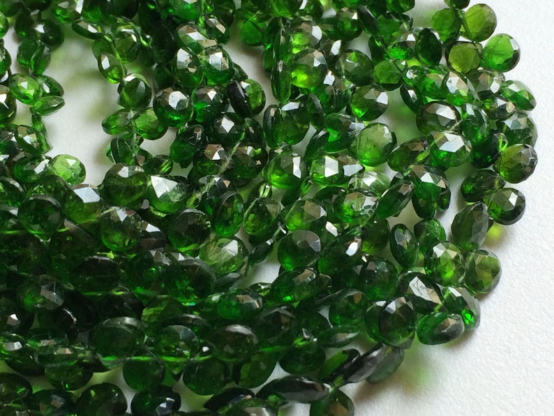 Faceted Heart Beads 8 Inch Strand Green Tourmaline Chrome Diopside Briolette Beads Green Diopside Beads 5mm