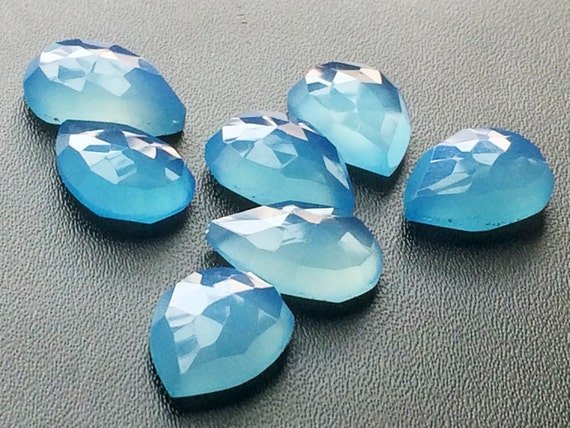 Blue Rose Cut Flat Back Cabochons Details about  /10mm Round Blue Chalcedony Faceted Cabochons