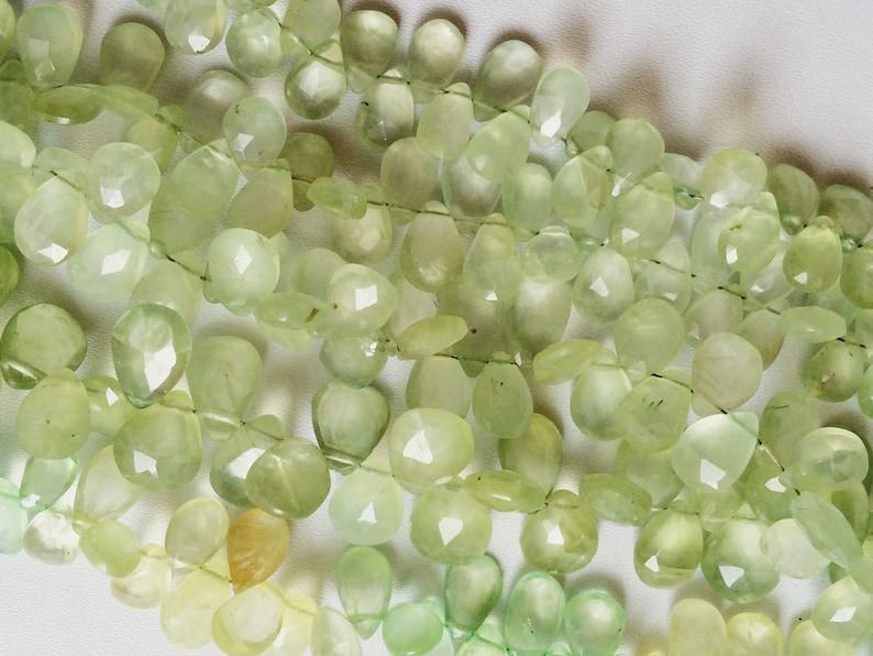 Prehnite 6x8mm To 7x9mm Approx. Prehnite Faceted Pear Briolette Beads Prehnite Necklace Prehnite Beads 8 Inch Strand
