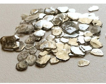 Diamond Slices, Grey Diamond Slices, Faceted Diamond, Free Form, Rough Diamond, Raw Diamond, 3mm To 5mm, 4-5 Pieces, 0.5