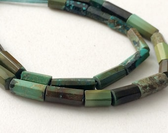 Arizona Turquoise Faceted Tube Beads, Natural Turquoise Tubes, Turquoise Necklace, 4x7mm - 5x15mm, 8 Inch, 18 - KRS330