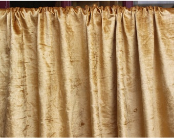 725745f5c1ec Gold Cotton Viscose Velvet Grommet Blackout Lined Curtain in Velvet Fabric  Decor Housewares Window Treatment Drapes Panels Home Decor