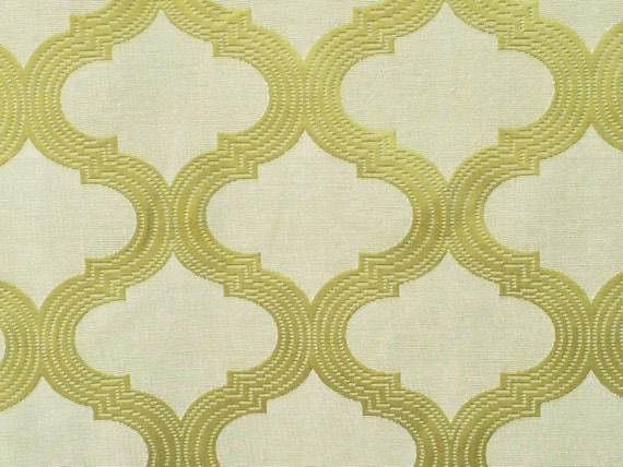Geometric Lime Green Curtain Fabric By The Yard Upholstery Etsy