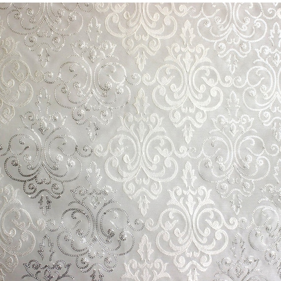 White Silver Damask Embroidered Sheer Curtain Fabric By The Etsy