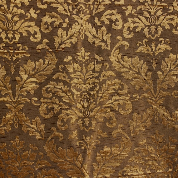 Gold And Olive Damask Fabric Upholstery Fabric Curtain Panels Etsy