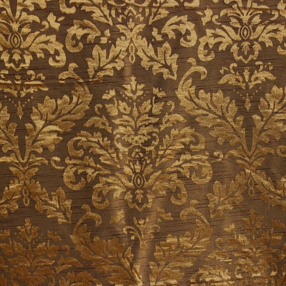 Gold And Olive Damask Fabric Upholstery Fabric Curtain Panels ...