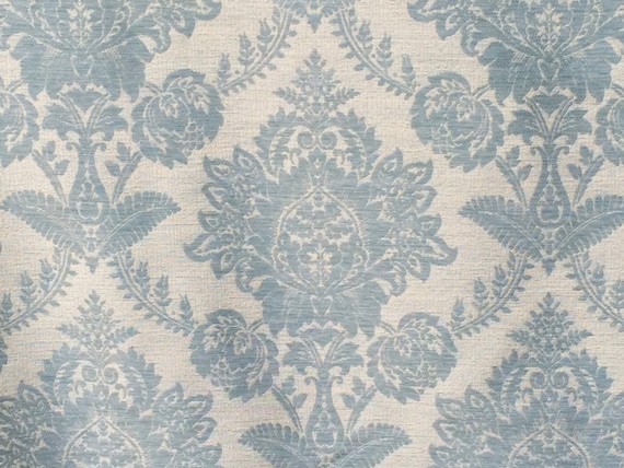 Teal Blue Damask Curtain Fabric By The Yard Upholstery Fabric Drapery  Fabric Window Treatment Fabric Sofa Fabric Floral Wholesale Fabric