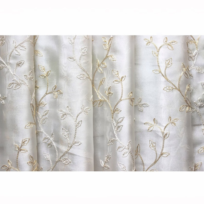 Royal Leaves Embroidered Sheer Curtain Fabric Drapery Window Treatment  Fabric Bedroom Curtain Grommet Curtain Panels Window Curtain Yardage
