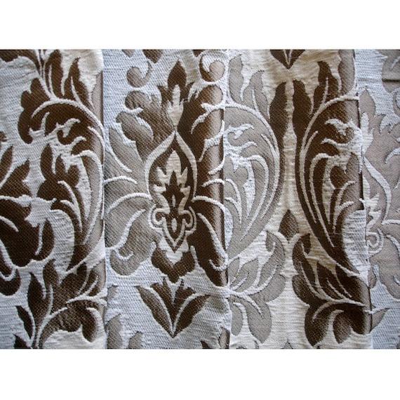 "Damask Jacquard 54/"" Black 137cm Wide Curtain Fabric Silver Grey Brocade"