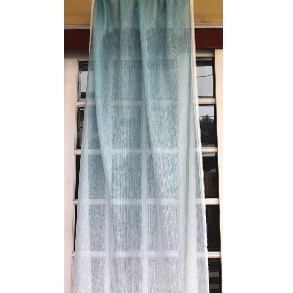 Ombre Curtain Light Blue 26x84 Sheer Rod Pocket | Etsy