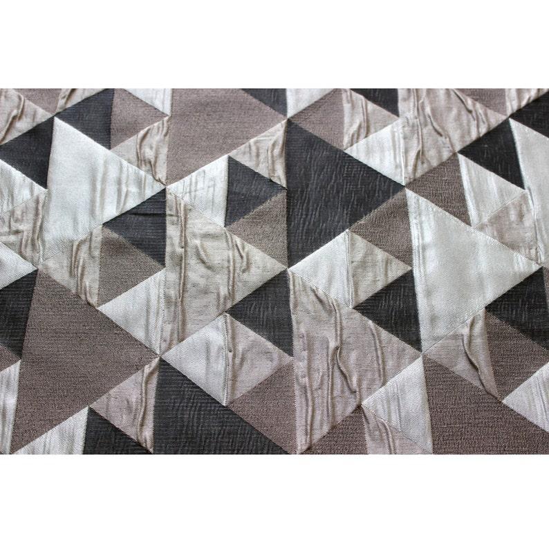 d5257a940d N marrón gris Origami patrón geométrico cortina tela tapicería