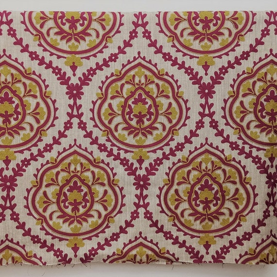 Lime Green And Fuchsia Pink Damask Curtain Fabric By The Yard Etsy