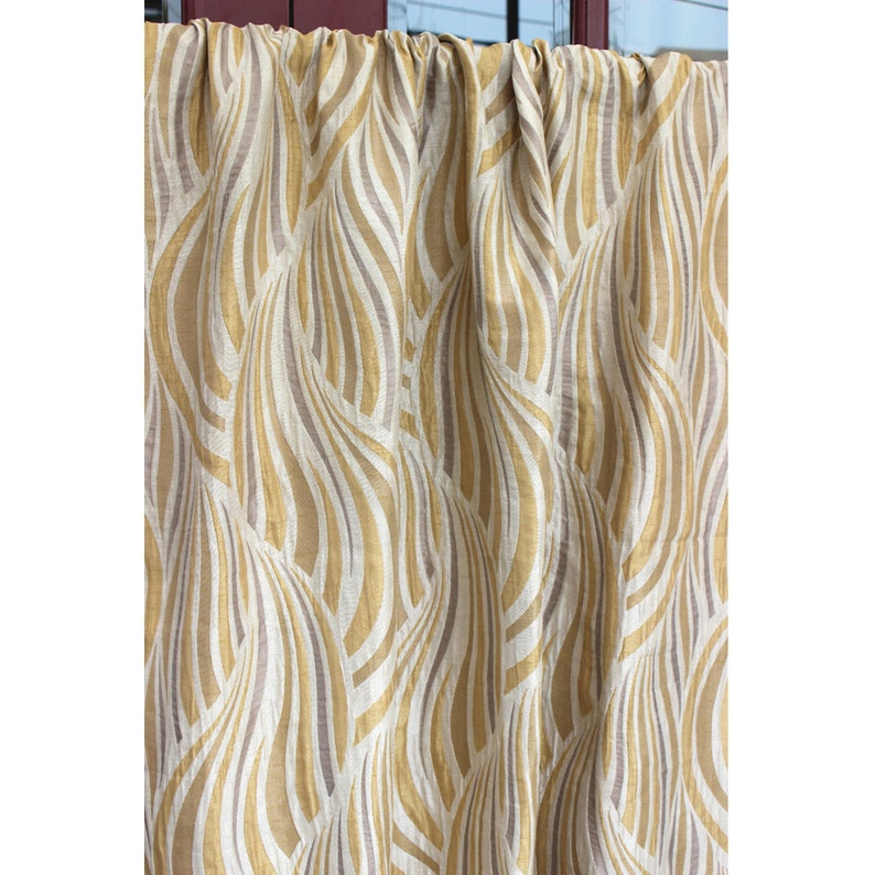Beige /& Gold Tides Grommet Unlined Curtain in Textured Jacquard Weave Fabric Decor and Housewares Window Treatment Drapes Panels
