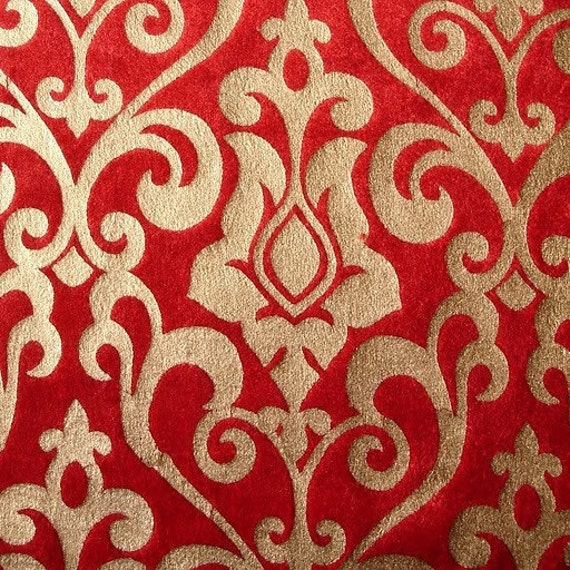 Red Damask Printed Velvet Fabric By The Yardvelvet Fabric Etsy