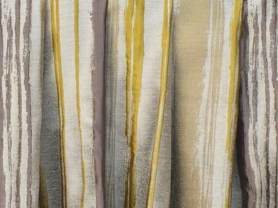 Chartreuse Stripes Curtain Drapes Custom Curtain Panels Window | Etsy