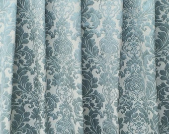 Teal Paradise Curtain Fabric By The Yard Upholstery Fabric Drapery Fabric Window Treatment Fabric Sofa Fabric Floral Wholesale Fabric