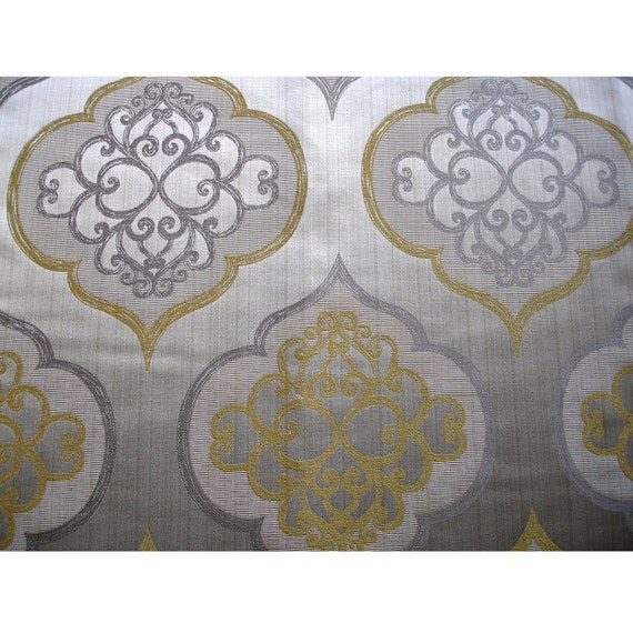 Geometric Light Gold Damask Curtain Fabric Upholstery Fabric Etsy