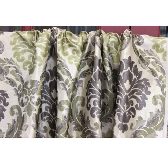 Yellow /& Grey Scrolls Grommet Blackout Lined Curtain in Jacquard Weave Fabric Decor and Housewares Window Treatment Drapes Panels