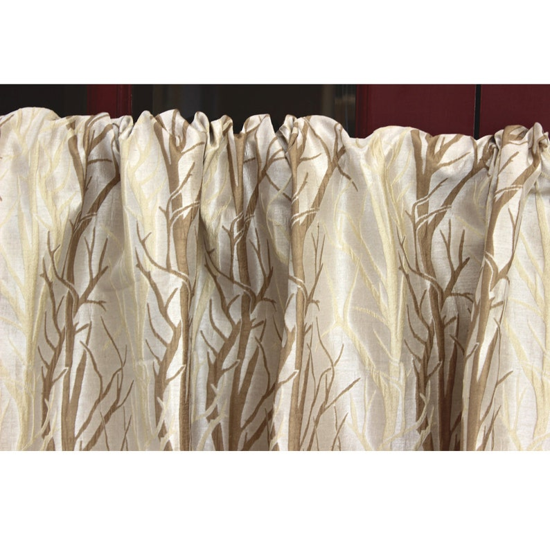 Nature Trail Grommet Unlined Curtain in Textured Jacquard Weave Fabric Decor and Housewares Window Treatment Drapes Panels Home Decor