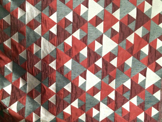 Red N Grey Origami Geometric Pattern Curtain Fabric Upholstery Etsy
