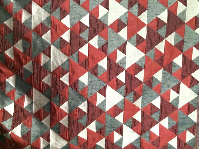 7dc3cb80a6 N rojo gris Origami patrón geométrico cortina tela tapicería