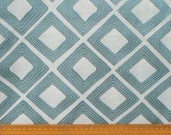 Teal Diamonds Curtain Fabric By The Yard Upholstery Fabric Drapery Fabric Window Treatment Fabric Sofa Fabric Floral Wholesale Fabric