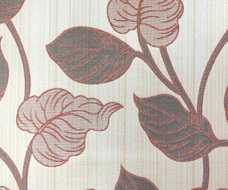 Rust Leaves Fabric By Yard Rust Curtain Fabric Upholstery Fabric Curtain Panels Drapery Fabric Window Treatment Fabric