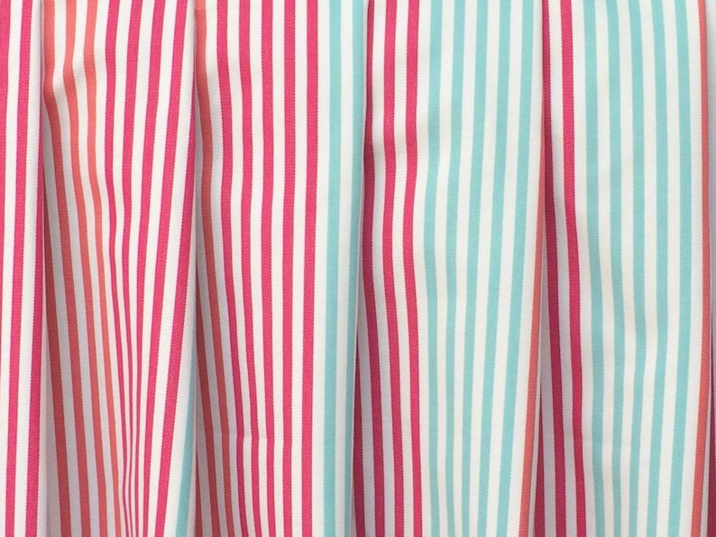 Coral and Mint Green Stripes Curtain Fabric By The Yard Upholstery Fabric Drapery Fabric Sofa Fabric Pillow Wholesale Fabric Fuchsia Pink