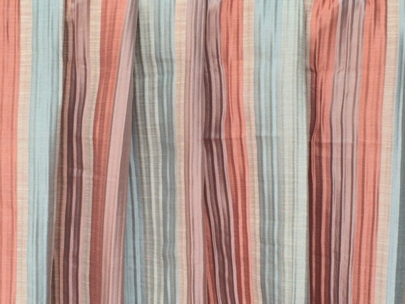 Peacock and Teal  Horizontal Striped Faux Silk 140cm wide Curtain//Craft Fabric