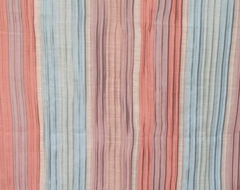 Peach And Teal Stripes Curtain Fabric By The Yard Upholstery Fabric Drapery Fabric Window Treatment Fabric Sofa Fabric Wholesale Fabric