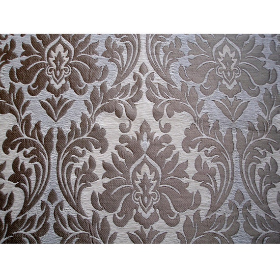 Ivory Gold Chenille Damask Curtain Fabric Upholstery Fabric Etsy