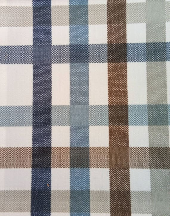 Brown And Blue Plaid Checks Printed Velvet Upholstery Fabric Etsy