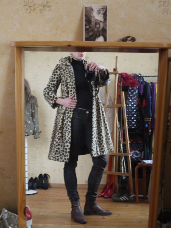 Vintage 1970s Princess Coat | 60s Leopard Animal P
