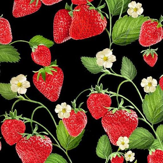 Strawberries Cotton Fabric Fruit Cotton Remnant Garden Cotton Fabric 1 Yard Cotton Fabric