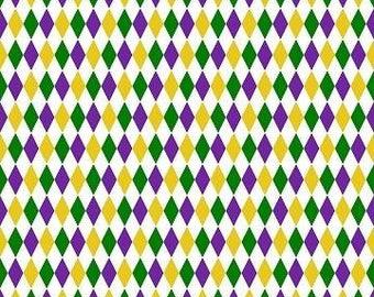 Mardi Gras Harlequin Cotton Fabric