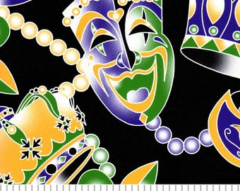 Mardi Gras Beads and Masks Cotton by Fabric Finders