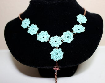 Teal Flower Crochet Necklace