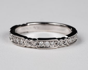 Made in Your Size CR-1010 platinum or palladium 10K 14K 18K Celtic Wedding Ring with Rubies in 4 Petal Flower Dara Knot Design  Sterling
