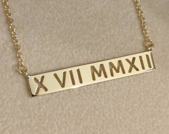 14k Gold Cutout Roman Numeral Bar Necklace - Personalized Jewelry. 14k, 18k Yellow, Rose, White Gold & Platinum. Custom Date