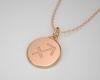 Sagittarius Necklace - Solid Gold Tiny Sagittarius Zodiac Charm. TINY TALISMANS™ Line of Spiritual Jewelry.  14k, 18k Solid Gold & Platinum